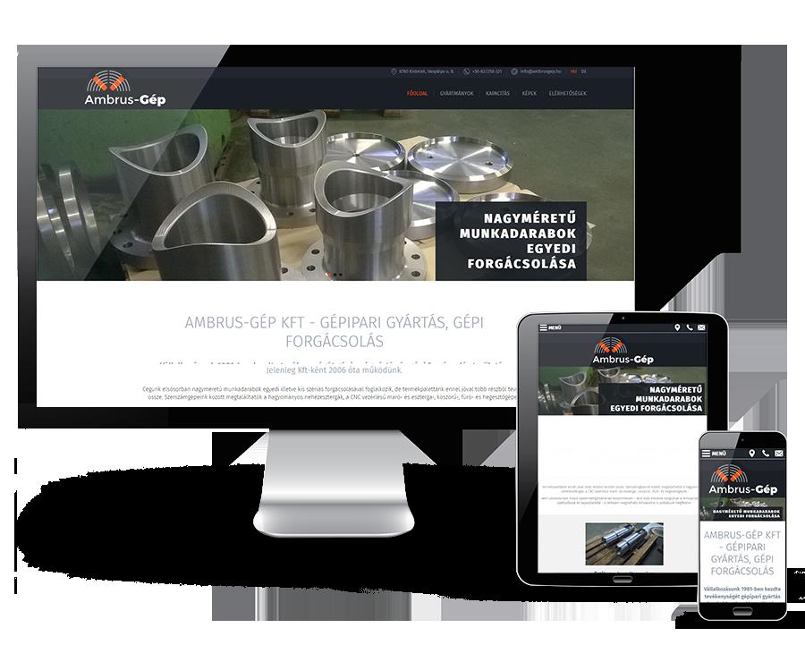 Ambrusgep.hu - Gépipari gyártással foglalkozó reszponzív weboldal készítése