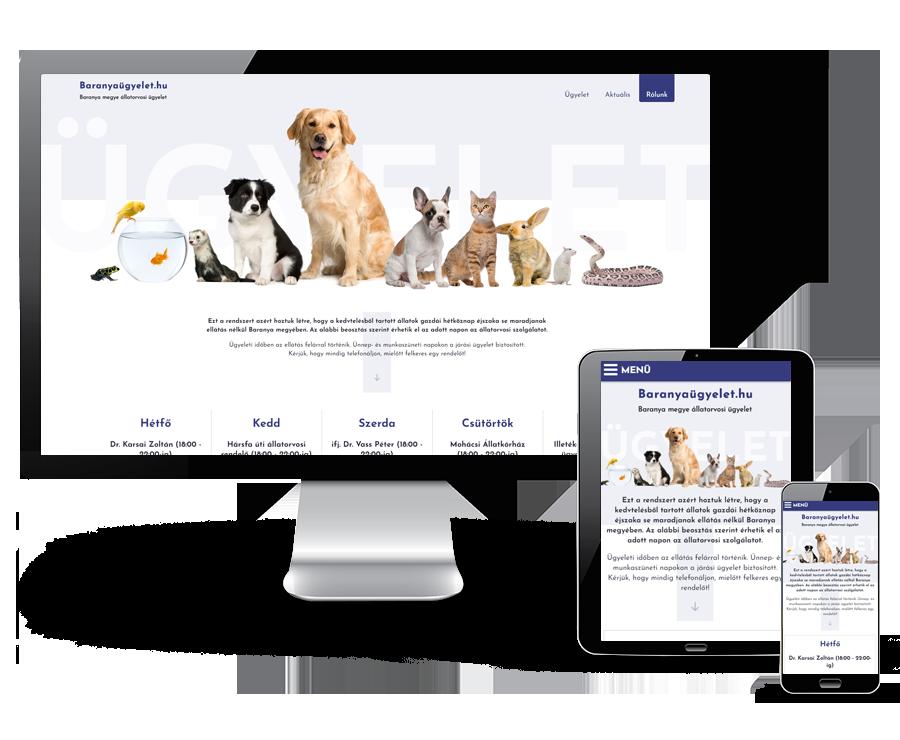 Baranyaugyelet.hu - Baranya megyei állatorvos ügyelet - reszponzív honlapkészítés