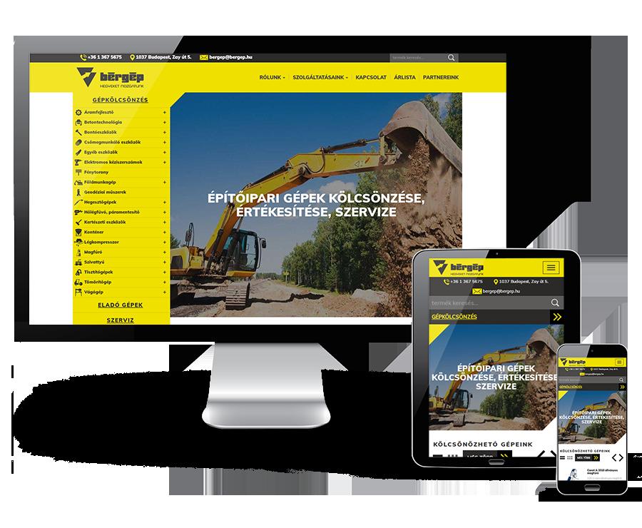Bergep.hu - Építőipari gépek kölcsönzése, értékesítése, szervize - Reszponzív webáruház készítés