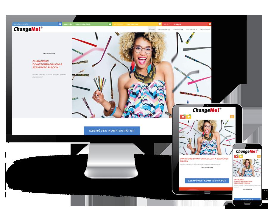 Changeme.hu - Szemüveg konfigurátor, webáruház - reszpnzív webáruház készítés