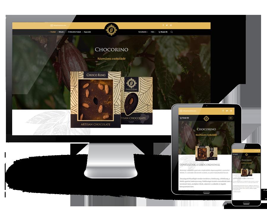 Chocorino.hu - Prémium minőségű kézműves csokoládé - Reszponzív webáruház készítés