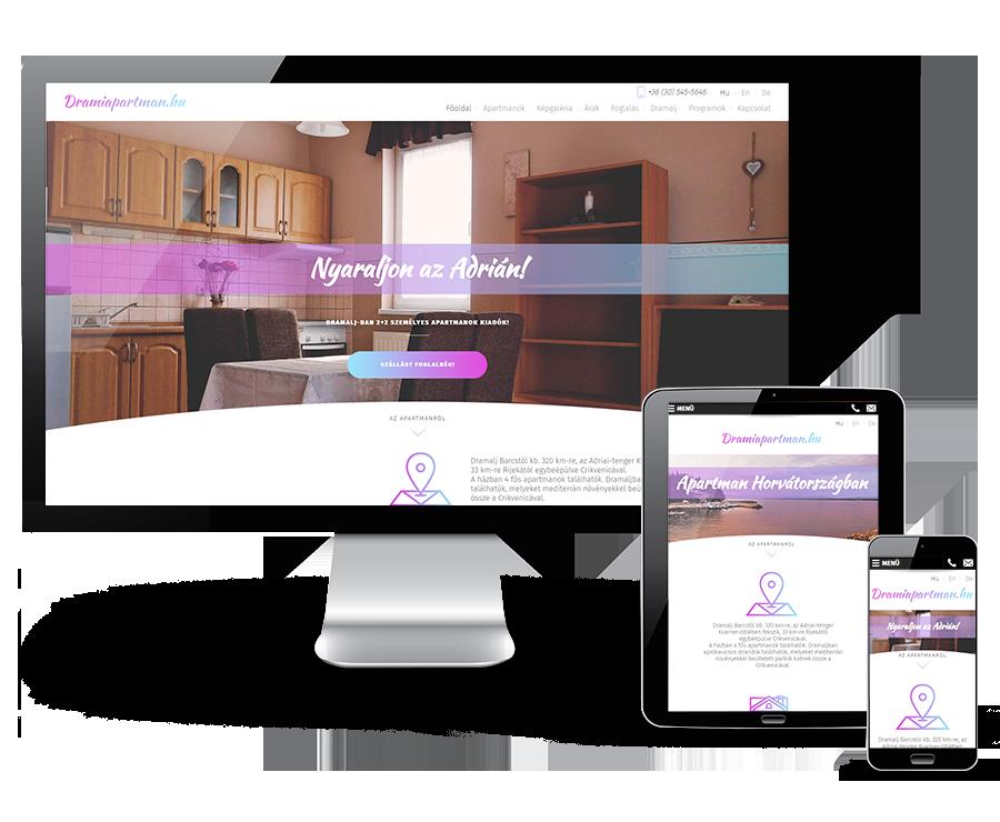 Drami Apartman mobilbarát bemutatkozó weblapkészítés