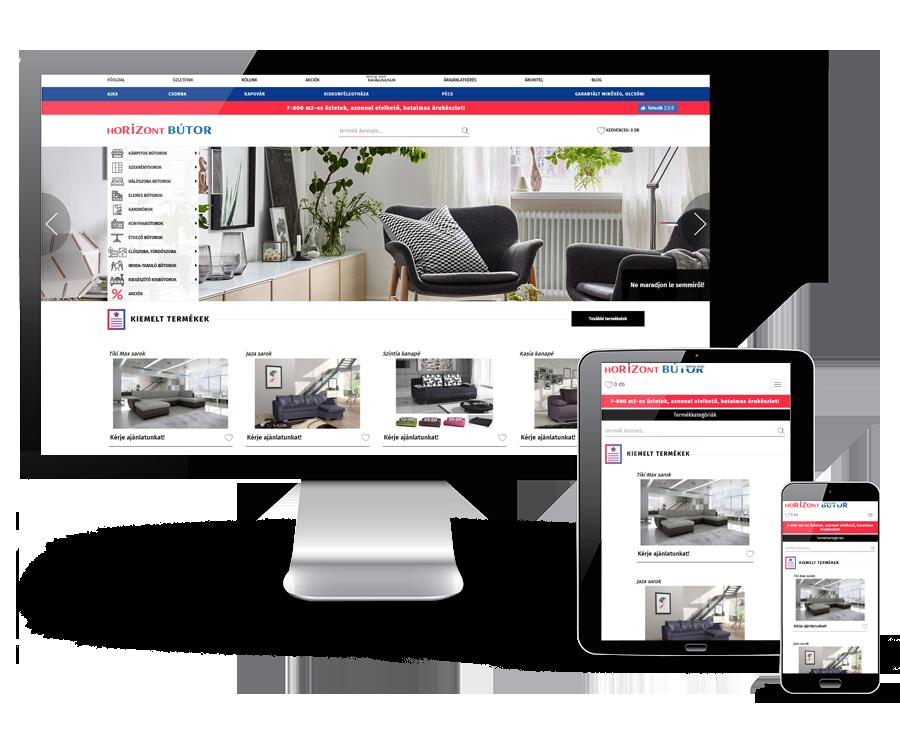 Horizontbutor.hu - reszponzív bútorwebáruház készítés