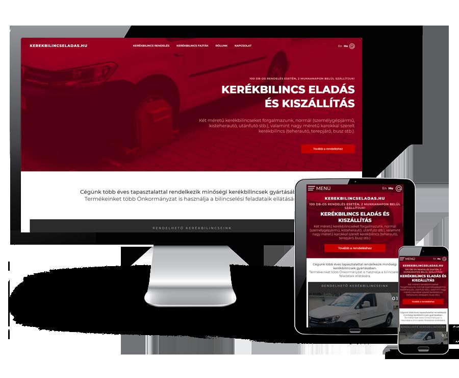 Kerekbilincseladas.hu - Kerékbilincs eladás és kiszállítás - reszponzív honlapkészítés
