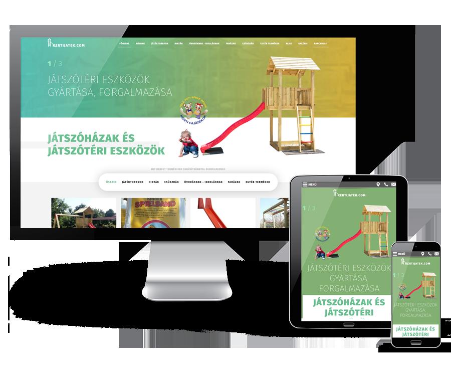 Kertijatek.com - játszóházak, játszótéri eszközök, kerti játékok reszponzív webáruház készítés