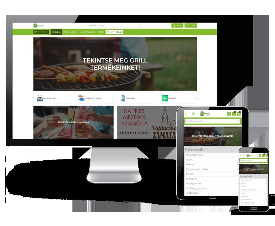 Kikilla.hu - Élelmiszer webshop - reszponzív webáruház készítés