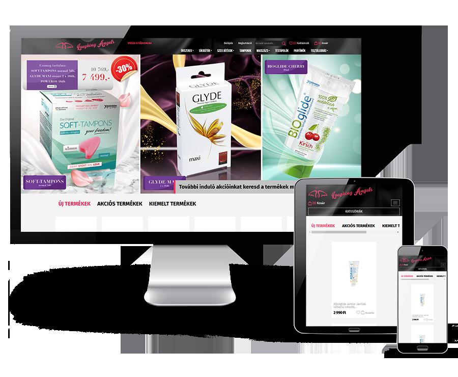 Laughingangels.hu - Erotikus segédeszközök - reszponzív webáruház készítés