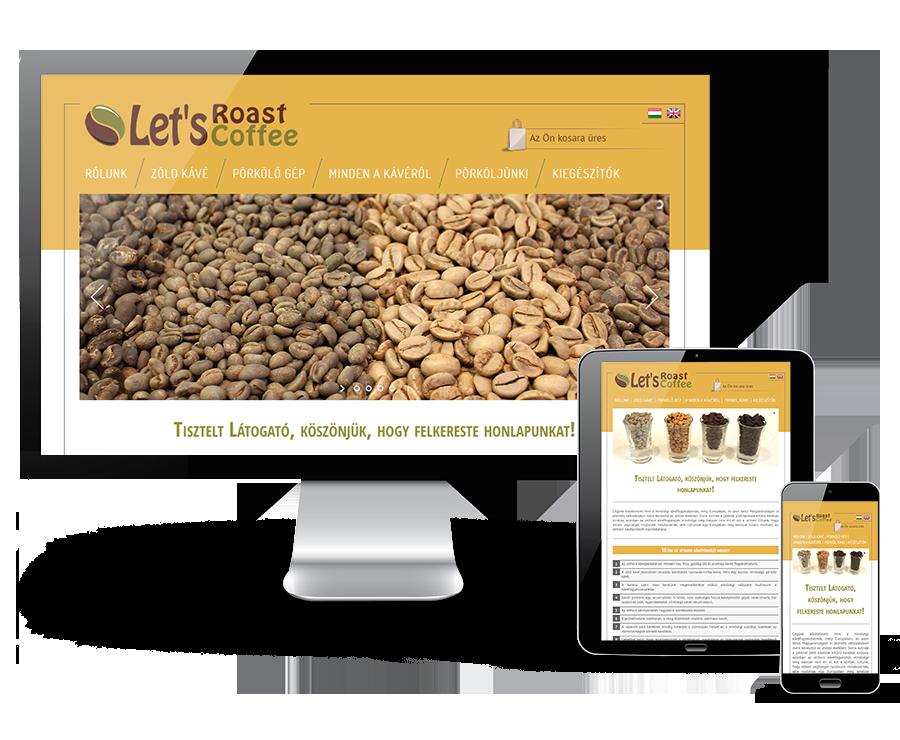 Letsroastcoffee.com egyedi fejlesztésű reszponzív mobilbarát webáruház