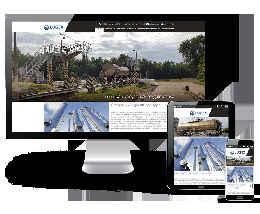 Lugex.hu ipari vegyszerek gyártása és forgalmazása - egyedi bemutatkozó mobil barát honlap készítés
