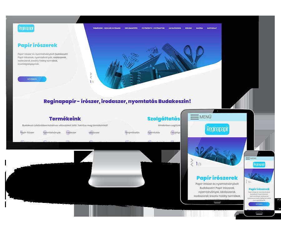 Reginapapir.hu - irodaszer, írószer, nyomtatás - Reszponzív honlapkészítés