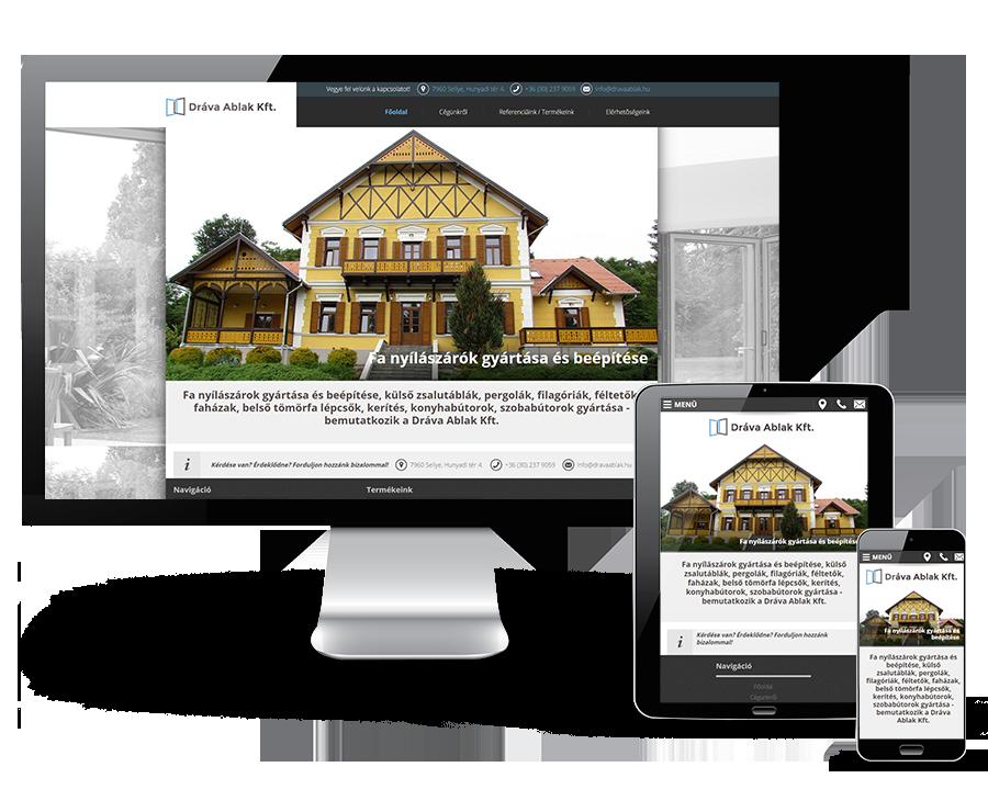 Dravaablak.hu reszponzív bemutatkozó weboldal készítése