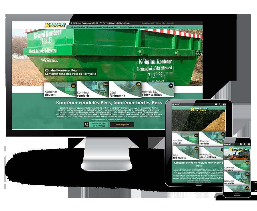 Kohalmikontener.hu reszponzív bemutatkozó weboldal készítés