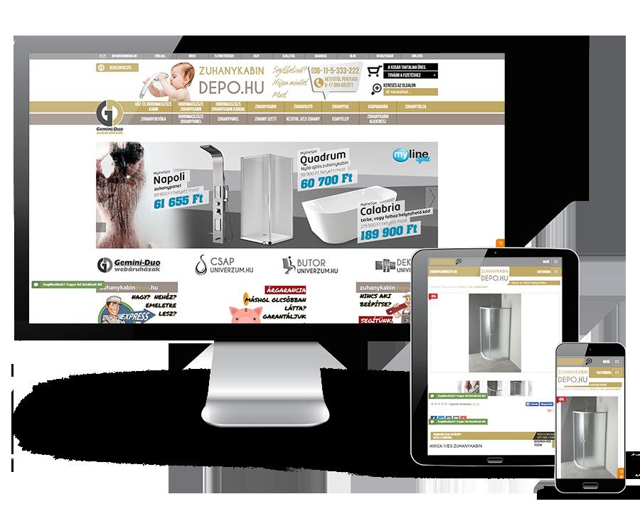Zuhanykabindepo.hu reszponzív webáruház készítés