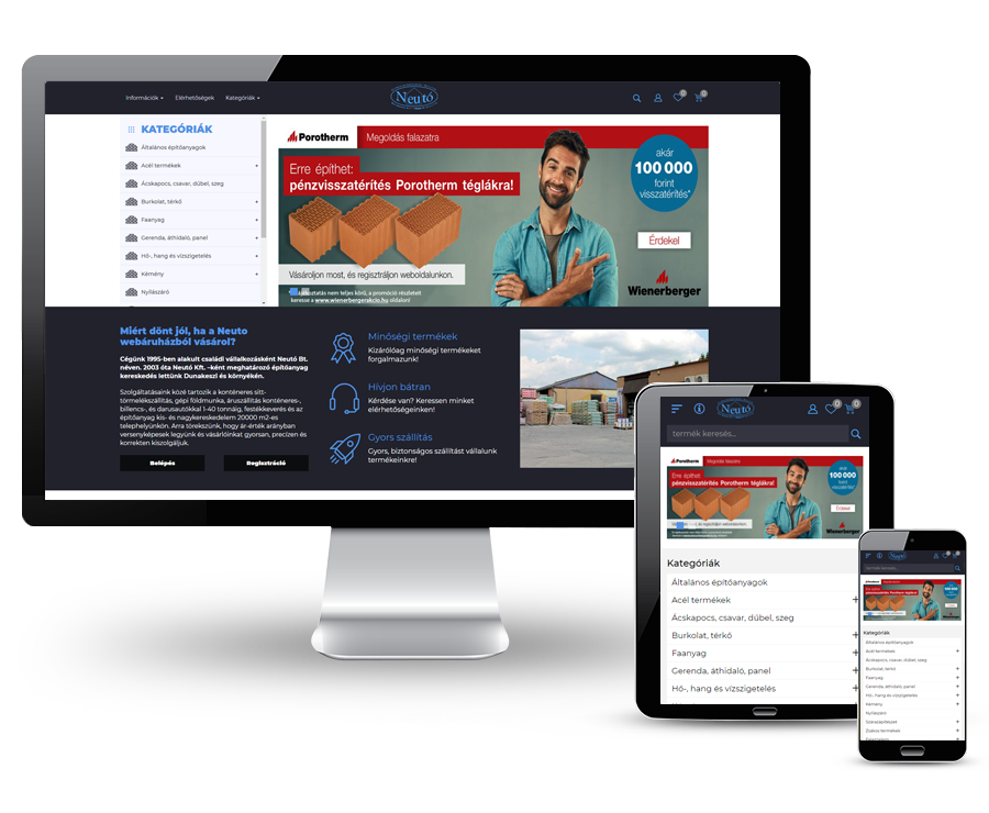 Shop.neuto.hu - Építőanyag kereskedés - reszponzív webáruház készítés