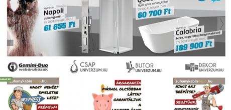 Zuhanykabindepo.hu egyedi fejlesztésű webáruház