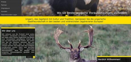 Vepar Jagdreisen egyedi megjelenésű bemutatkozó honlap