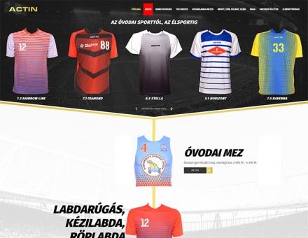 Actinsportmezek.hu - sportfelszereléseket gyártó cég bemutatkozó honlapjának elkészítése