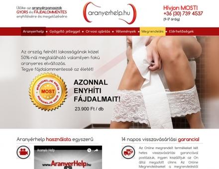 Aranyerhelp.hu reszponzív termékbemutató oldal megújítás