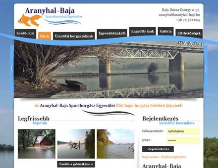 Aranyhal-Baja Sporthorgász Egyesület honlapjának elkészítése