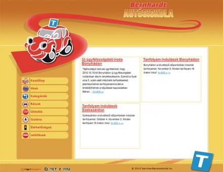 Bernhardt autósiskola honlapjának elkészítése