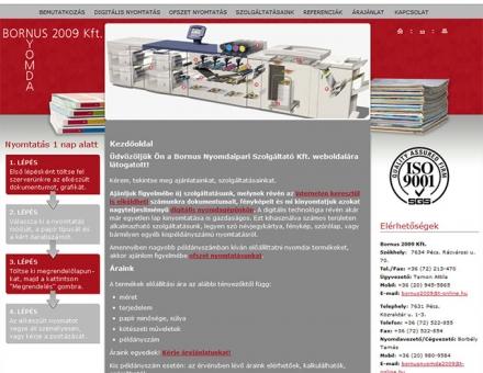 Bornus 2009 Kft. honlapjának elkészítése
