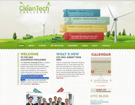 cleantechnologychallenge.com honlap elkészítése