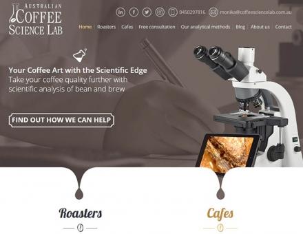 Coffeesciencelab.com.au reszponzív bemutatkozó weboldal készítés