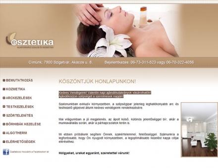 Esztétika Szépségszalon weblapjának tervezése