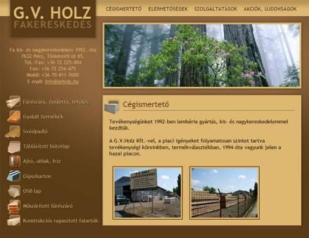 A pécsi G.V. Holz Kft bemutatkozó weboldalának elkészítése