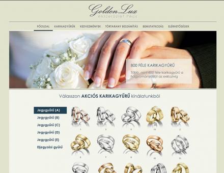 GoldenLux ékszerüzlet weboldalának elkészítése