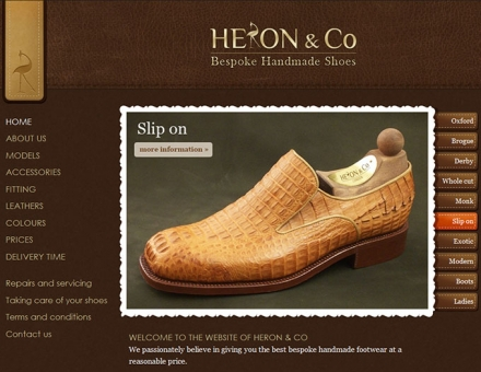 heronbespokeshoes.co.uk weboldal