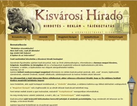 kisvarosihirado.hu hirdető újság weboldal készítése