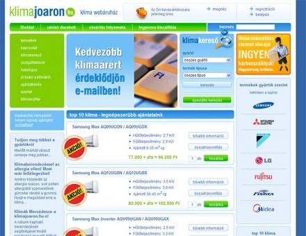 Klímajóáron.hu internetes áruház programozása