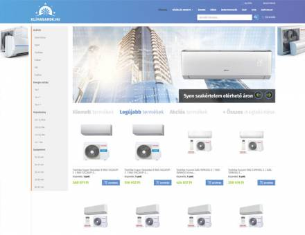 Klimasarok.hu - többféle klímafajták forgalmazása, beszerelése - reszponzív webáruház készítés