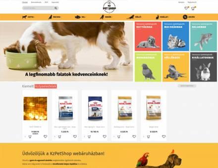Kzpetshop.hu kisállat eledelek táplálékkiegészítők - reszponzív webáruház készítés