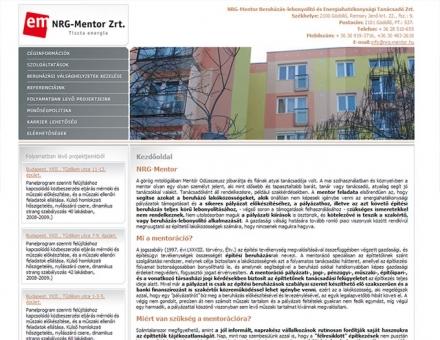 www.nrg-mentor.hu weboldalának elkészítése