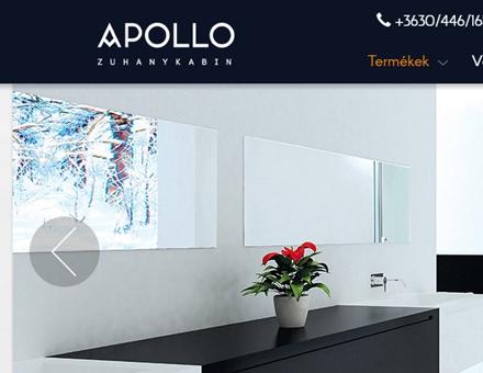 Apollozuhanykabinshop.hu reszponzív, mobilbarát webáruház elkészítés