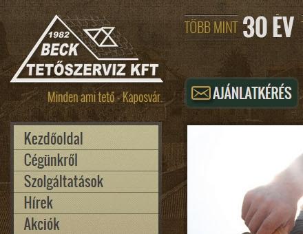 Becktetoszerviz.hu céges bemutatkozó weboldal elkészítése