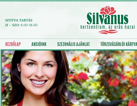 Silvanus Kertcentrum bemutatkozó weboldal