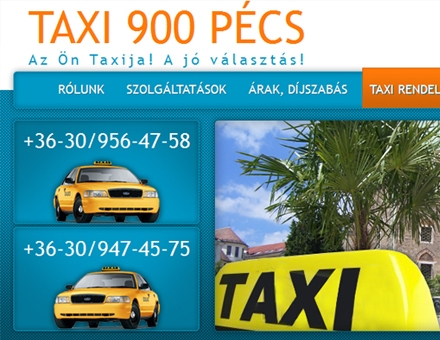 Taxi900.eu bemutatkozó honlap