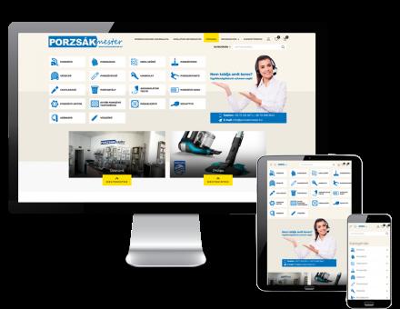 Porzsakmester.hu - porzsák, porszívó webáruház - reszponzív webáruház készítés