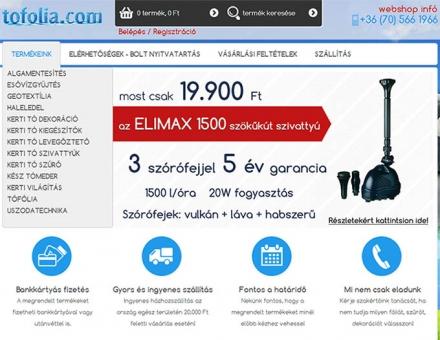 shop.tofolia.com webshop elkészítése