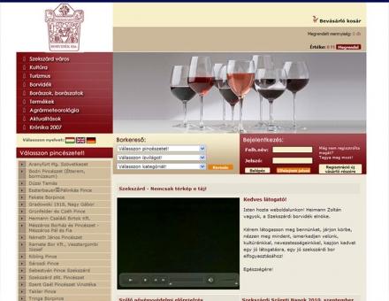 Szekszárdi bor weboldala