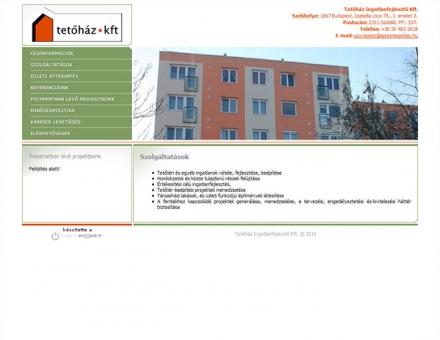 Tetőház Kft. honlapjának fejlesztése