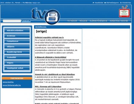 TV8 honlapjának elkészítése