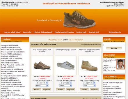 Védőcipő.hu webáruház redesign