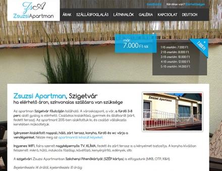 Zsuzsi Apartman, Szigetvár bemutatkozó weboldal készítés