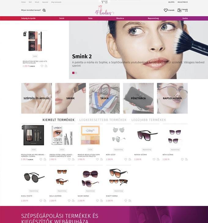 4ladies.hu - szépségápolás, smink és egyéb kiegészítők nőknek - reszponzív webáruház készítés