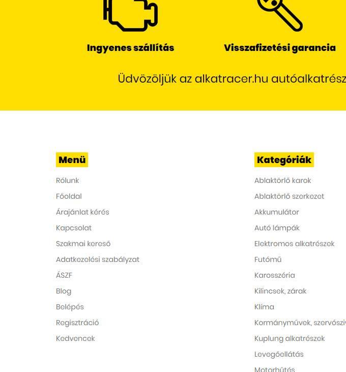 Alkatracer.hu - autóalkatrész reszponzív webáruház készítés