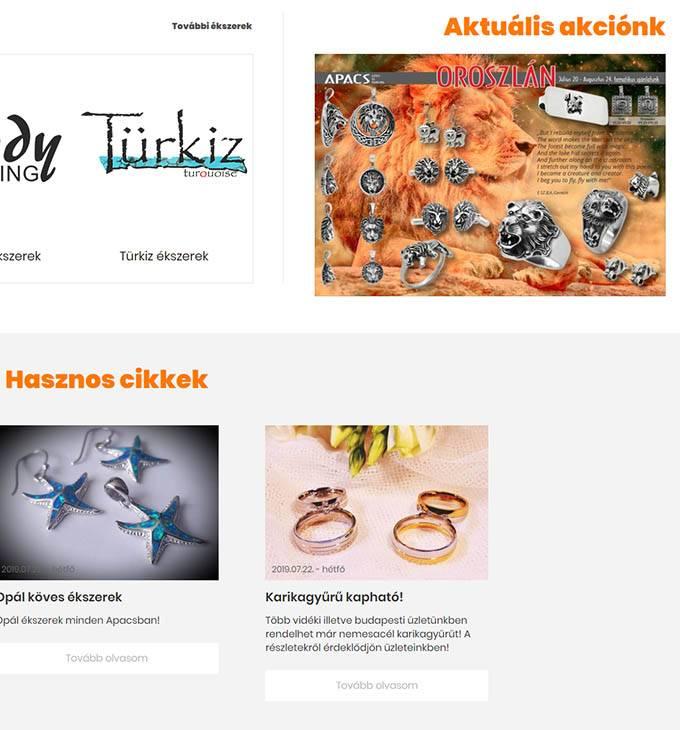 Apacsezust.hu - Ezüst és nemesacél ékszerek - Reszponzív honlapkészítés